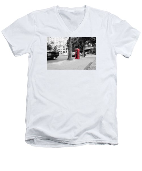 A Single Red Telephone Box On The Street Bw Men's V-Neck T-Shirt