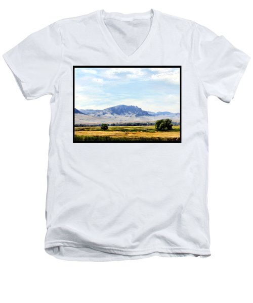 Men's V-Neck T-Shirt featuring the painting A Sleeping Giant by Susan Kinney