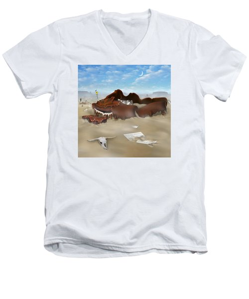 A Slow Death In Piano Valley Sq Men's V-Neck T-Shirt