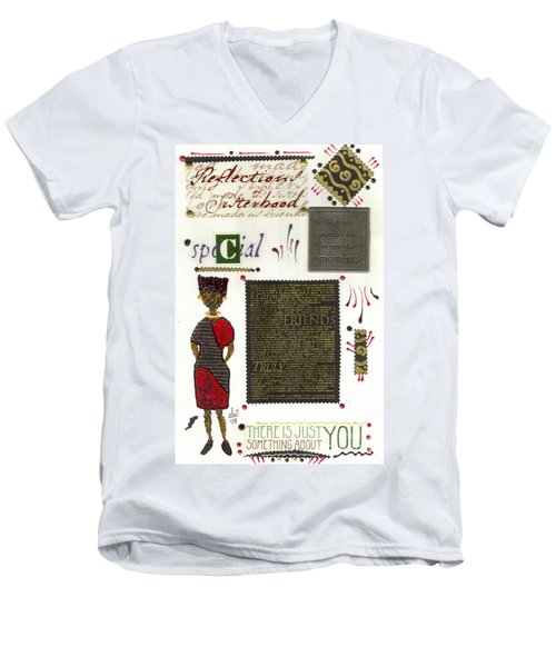 Men's V-Neck T-Shirt featuring the mixed media A Special Friend by Angela L Walker