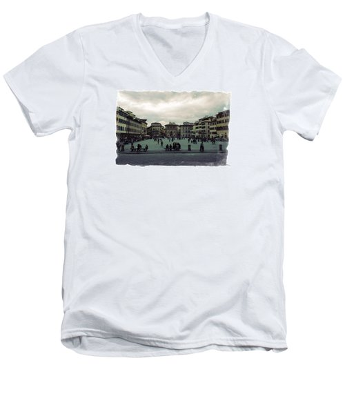 Men's V-Neck T-Shirt featuring the photograph A Square In Florence Italy by Wade Brooks