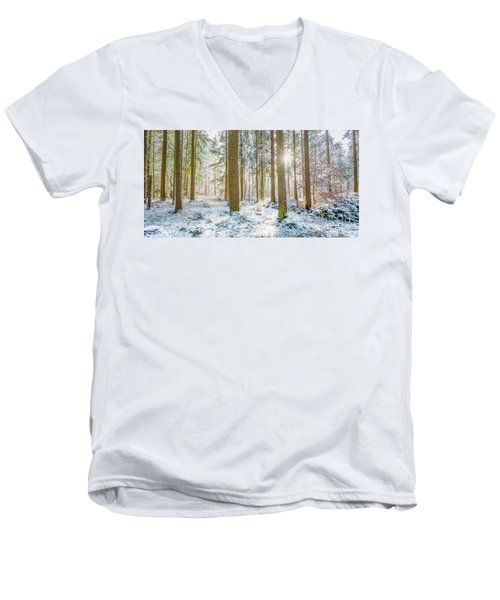 Men's V-Neck T-Shirt featuring the photograph A Sunny Day In The Winter Forest by Hannes Cmarits
