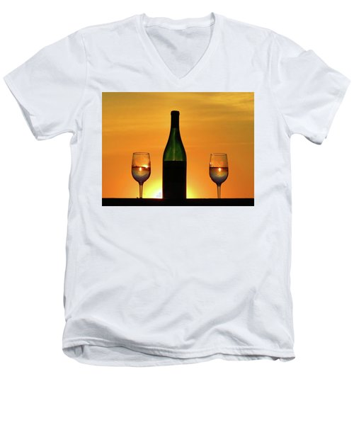 A Sunset In Each Glass Men's V-Neck T-Shirt