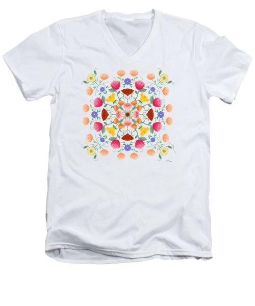 A Symphony Of Dancing Floral Delights Men's V-Neck T-Shirt