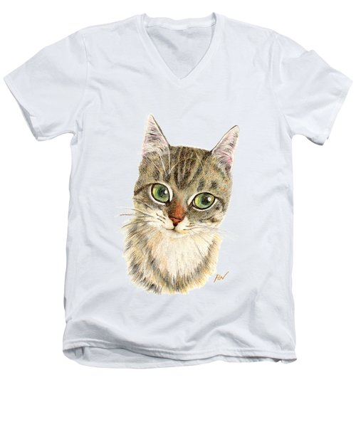 A Thinking Cat Men's V-Neck T-Shirt