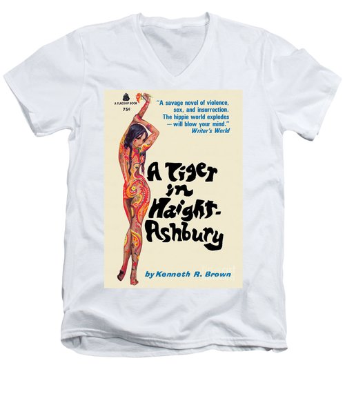 A Tiger In Haight-ashbury Men's V-Neck T-Shirt