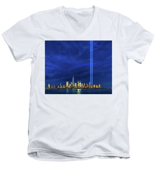 Men's V-Neck T-Shirt featuring the photograph A Tribute At Dusk by Chris Lord