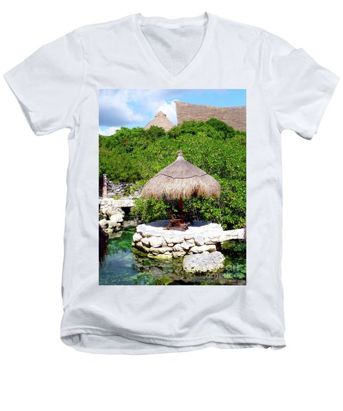 Men's V-Neck T-Shirt featuring the photograph A Tropical Place To Relax by Francesca Mackenney