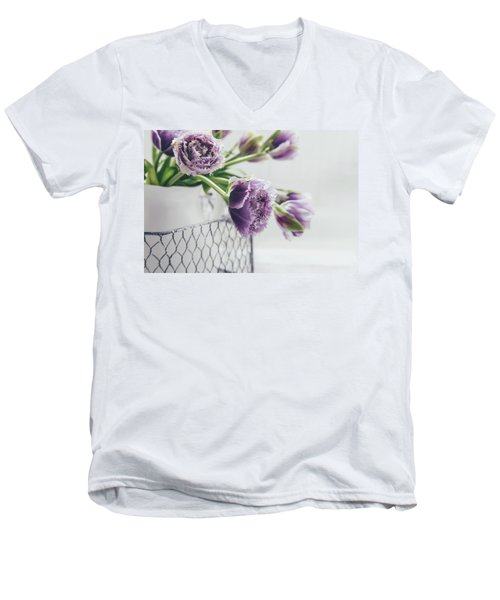 Men's V-Neck T-Shirt featuring the photograph A Tulip Moment by Kim Hojnacki