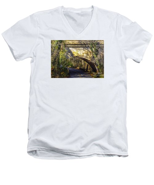 Men's V-Neck T-Shirt featuring the photograph A Tunnel By The River by Melissa Messick