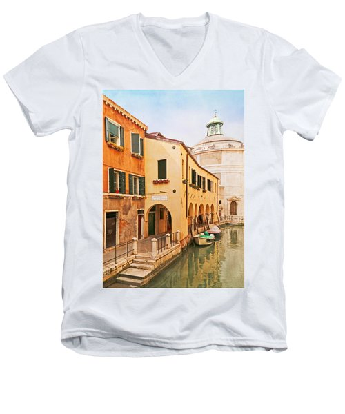 A Venetian View - Sotoportego De Le Colonete - Italy Men's V-Neck T-Shirt by Brooke T Ryan