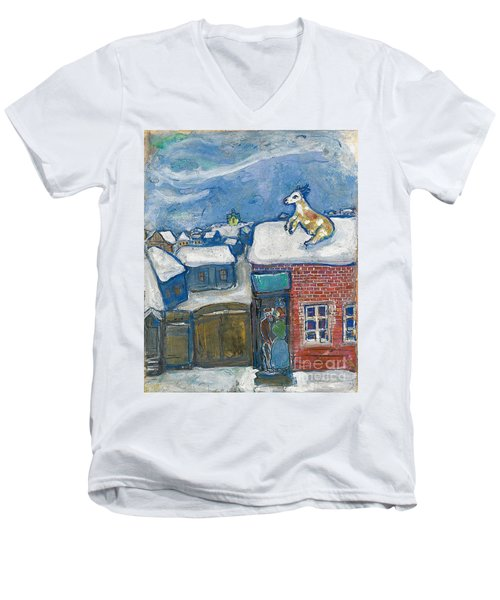A Village In Winter Men's V-Neck T-Shirt by Marc Chagall