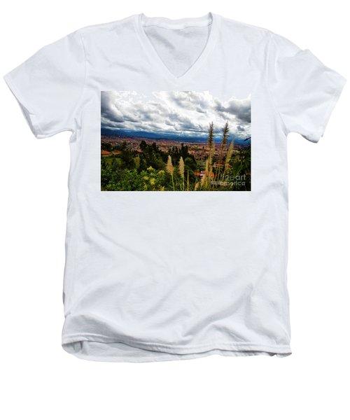 A Vista Of Cuenca From The Autopista Men's V-Neck T-Shirt by Al Bourassa
