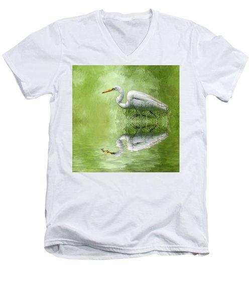 A Walk In The Marsh Men's V-Neck T-Shirt by Cyndy Doty
