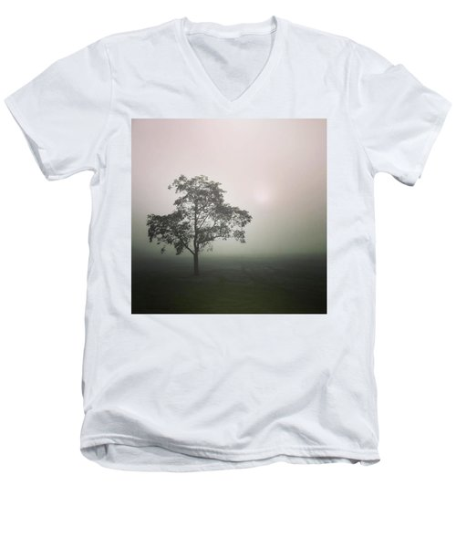 A Walk Through The Clouds #fog #nuneaton Men's V-Neck T-Shirt by John Edwards