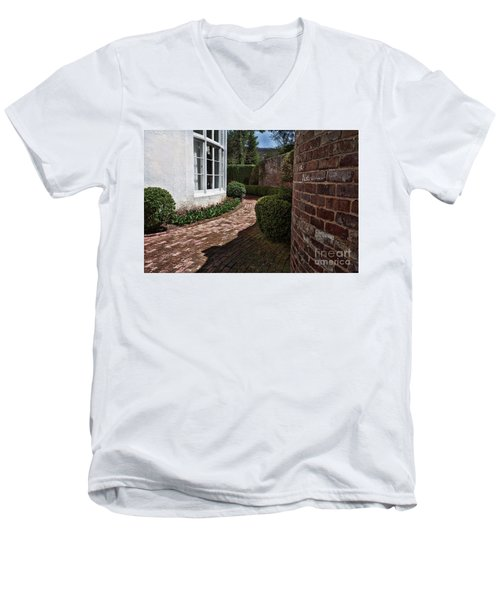 Men's V-Neck T-Shirt featuring the photograph A Walk Through The Greenbrier by Laurinda Bowling