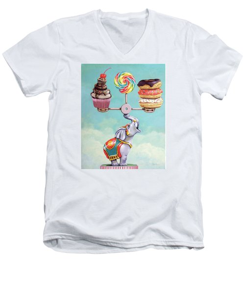 A Well-balanced Diet Men's V-Neck T-Shirt by Linda Apple