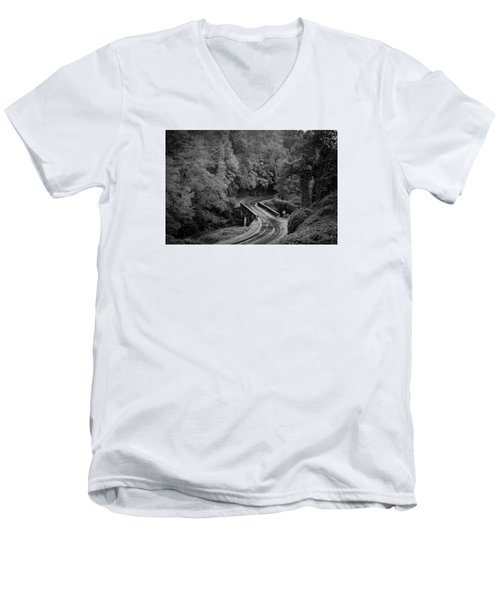 A Wet And Twisty Road Through The Blue Ridge Mountains In Black And White Men's V-Neck T-Shirt by Kelly Hazel