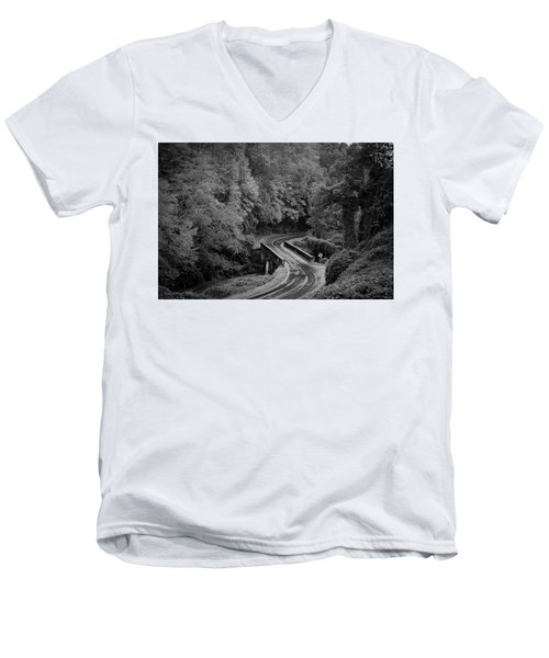 A Wet And Twisty Road Through The Blue Ridge Mountains In Black And White Men's V-Neck T-Shirt