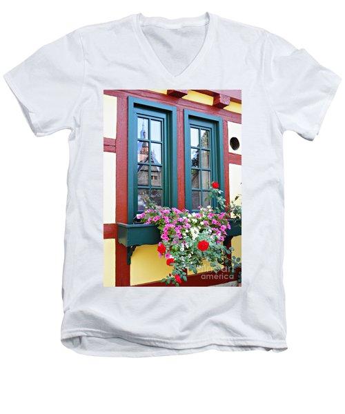A Window In Eltville  2 Men's V-Neck T-Shirt by Sarah Loft