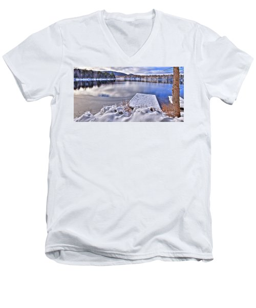 Men's V-Neck T-Shirt featuring the photograph A Winter Day On West Lake by David Patterson