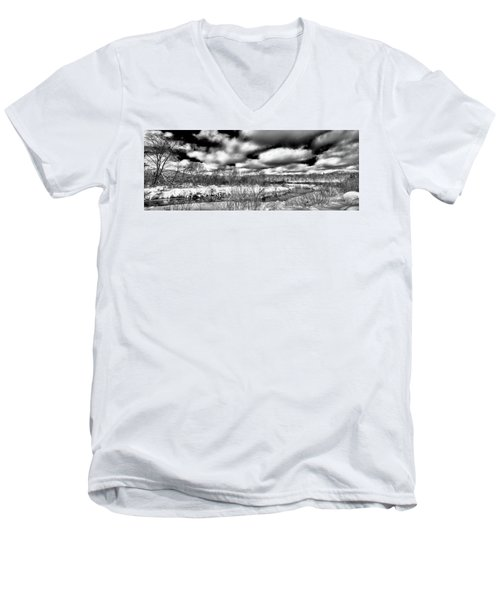 Men's V-Neck T-Shirt featuring the photograph A Winter Panorama by David Patterson