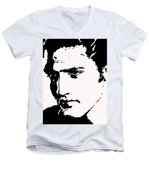 Men's V-Neck T-Shirt featuring the drawing A Young Elvis by Robert Margetts