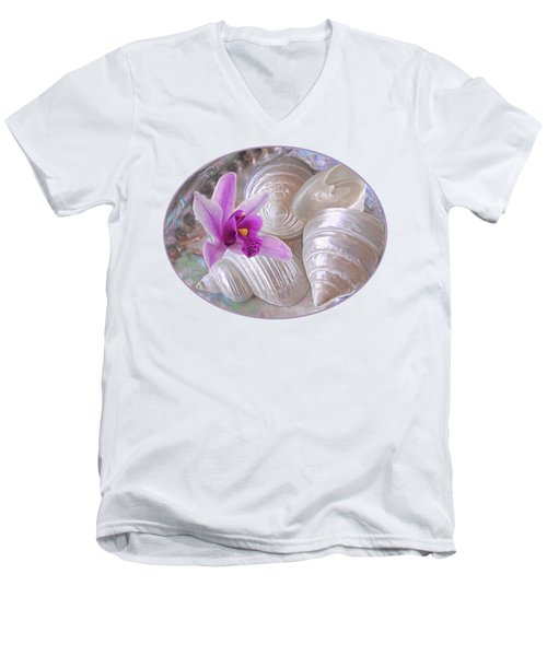 Abalone With Pearl Shells And Purple Orchid Men's V-Neck T-Shirt