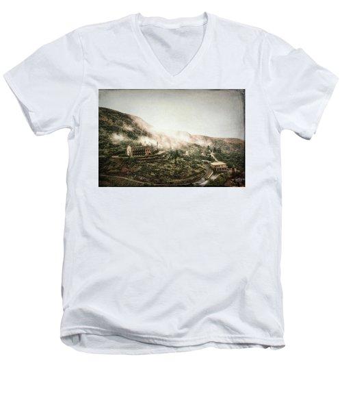 Abandoned Hotel In The Fog Men's V-Neck T-Shirt