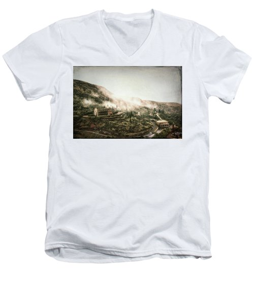 Abandoned Hotel In The Fog Men's V-Neck T-Shirt