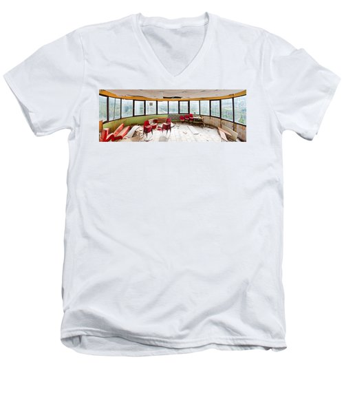 Abandoned Tower Restaurant - Urban Panorama Men's V-Neck T-Shirt by Dirk Ercken