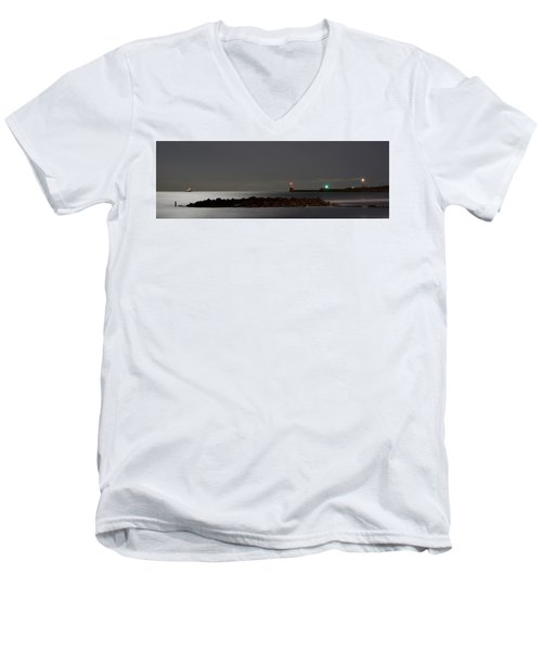 Aberdeen Beach At Night _ Pano 2 Men's V-Neck T-Shirt