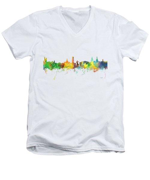 Aberdeen Scotland Skyline Men's V-Neck T-Shirt by Marlene Watson