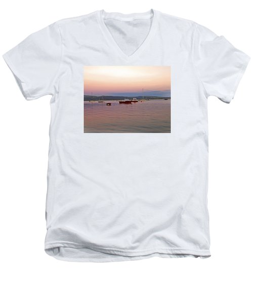 Men's V-Neck T-Shirt featuring the photograph Aberdovey Moorings. by Paul Scoullar