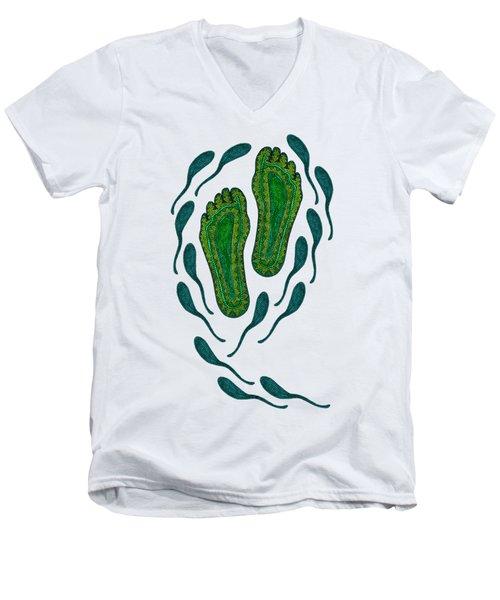 Aboriginal Footprints Green Transparent Background Men's V-Neck T-Shirt