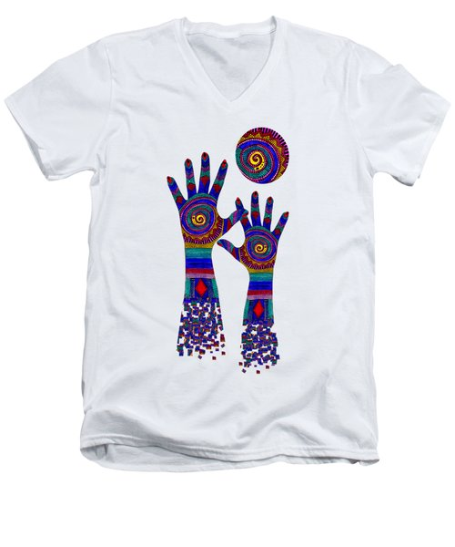 Aboriginal Hands Blue Transparent Background Men's V-Neck T-Shirt