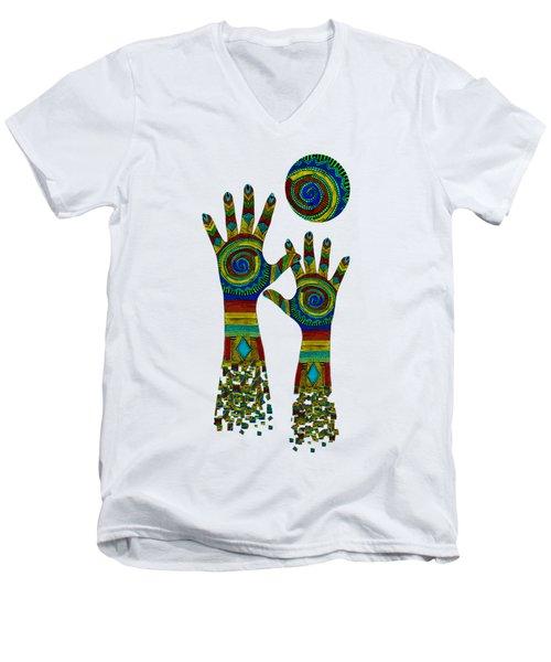 Aboriginal Hands Gold Transparent Background Men's V-Neck T-Shirt