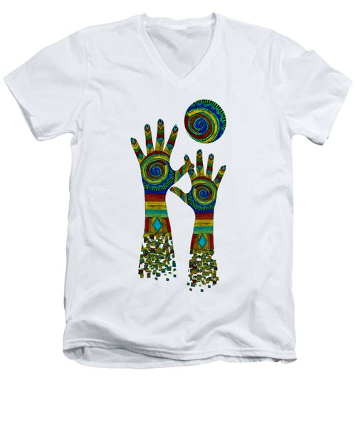 Aboriginal Hands Gold Transparent Background Men's V-Neck T-Shirt
