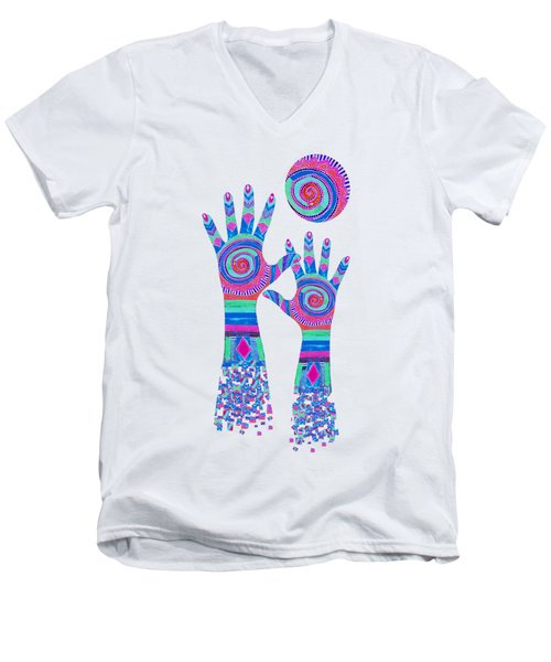 Aboriginal Hands Pastel Transparent Background Men's V-Neck T-Shirt