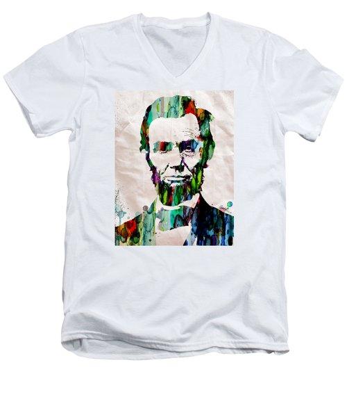 Abraham Lincoln Art Watercolor Men's V-Neck T-Shirt
