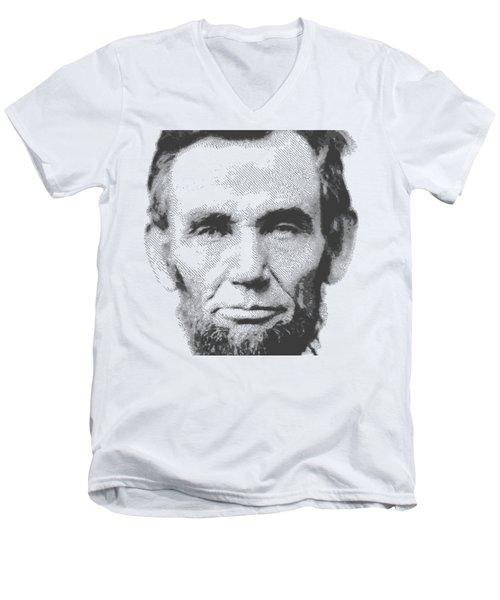 Abraham Lincoln - Parallel Hatching Men's V-Neck T-Shirt by Samuel Majcen