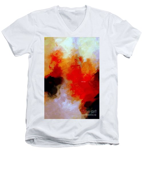 Men's V-Neck T-Shirt featuring the digital art Abstract 1909f by Rafael Salazar