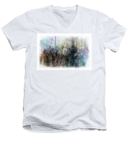 Men's V-Neck T-Shirt featuring the painting 2f Abstract Expressionism Digital Painting by Ricardos Creations
