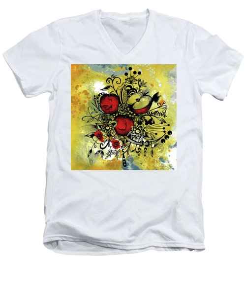Abstract Acrylic Painting Apples II Men's V-Neck T-Shirt by Saribelle Rodriguez