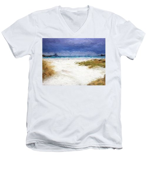 Abstract Beach Horizon Men's V-Neck T-Shirt by Anthony Fishburne
