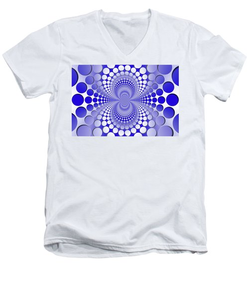 Abstract Blue And White Pattern Men's V-Neck T-Shirt