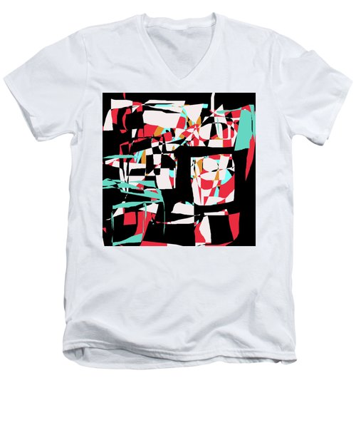 Men's V-Neck T-Shirt featuring the digital art Abstract Boxes by Jessica Wright