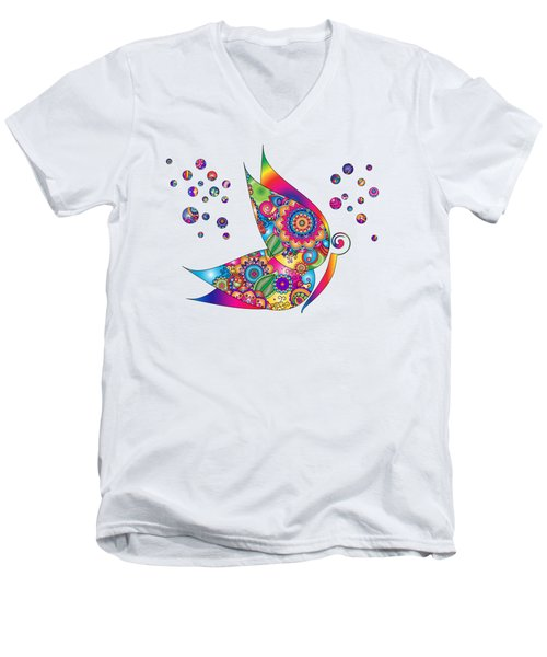 Abstract Colorful Butterfly Men's V-Neck T-Shirt