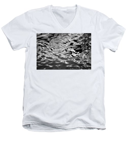 Abstract Dock Reflections I Bw Men's V-Neck T-Shirt