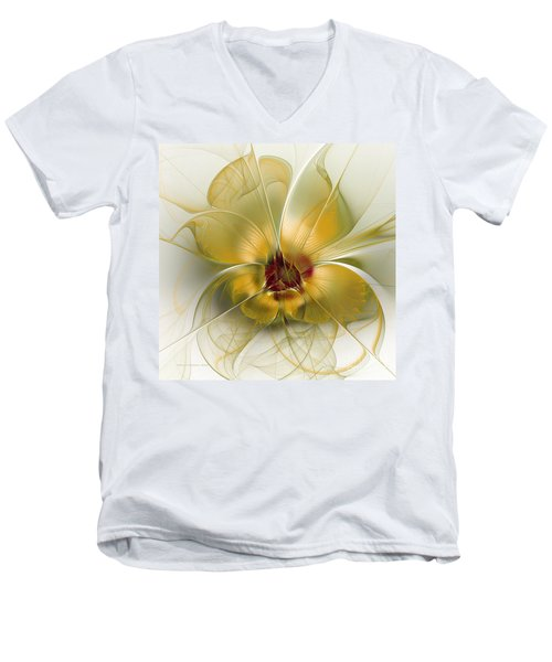Abstract Flower With Silky Elegance Men's V-Neck T-Shirt